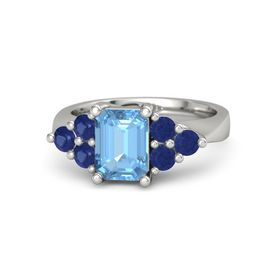 Emerald Blue Topaz Platinum Ring with Blue Sapphire
