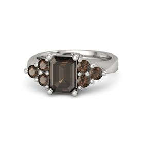 Emerald Smoky Quartz Platinum Ring with Smoky Quartz