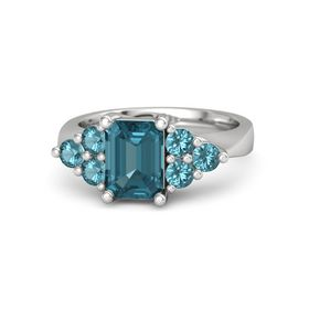 Emerald-Cut London Blue Topaz Sterling Silver Ring with London Blue Topaz