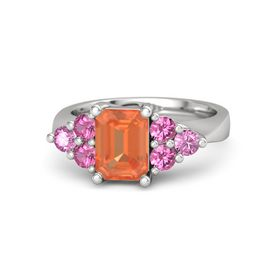 Emerald Fire Opal Sterling Silver Ring with Pink Tourmaline and Pink Sapphire
