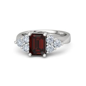 Emerald Red Garnet Sterling Silver Ring with Diamond
