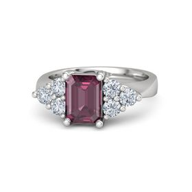 Emerald-Cut Rhodolite Garnet Sterling Silver Ring with Diamond