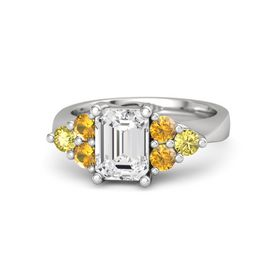 Emerald White Sapphire Sterling Silver Ring with Citrine and Yellow Sapphire