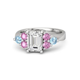 Emerald White Sapphire Sterling Silver Ring with Pink Sapphire and Blue Topaz