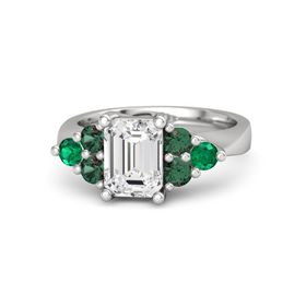 Emerald White Sapphire Sterling Silver Ring with Alexandrite and Emerald