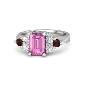 Emerald Pink Sapphire Sterling Silver Ring with White Sapphire and Red Garnet