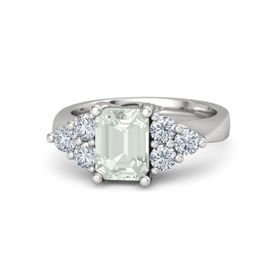 Emerald-Cut Green Amethyst Sterling Silver Ring with Diamond