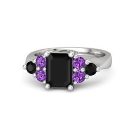 Emerald-Cut Black Onyx Sterling Silver Ring with Amethyst & Black Onyx