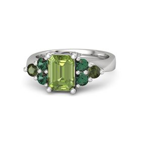 Emerald Peridot Sterling Silver Ring with Alexandrite and Green Tourmaline