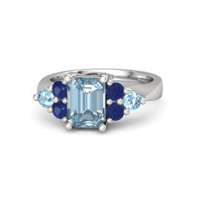 Emerald Aquamarine Sterling Silver Ring with Blue Sapphire and Blue Topaz
