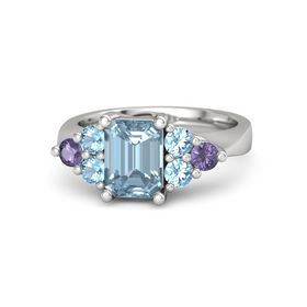 Emerald-Cut Aquamarine Sterling Silver Ring with Blue Topaz & Iolite