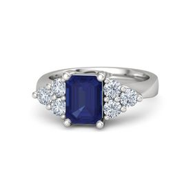 Emerald Blue Sapphire Sterling Silver Ring with Diamond