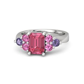 Emerald Pink Tourmaline Sterling Silver Ring with Pink Tourmaline and Iolite
