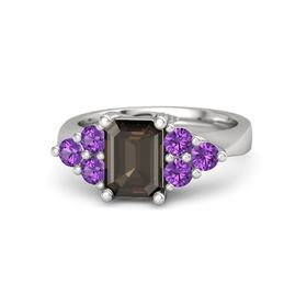 Emerald-Cut Smoky Quartz Sterling Silver Ring with Amethyst