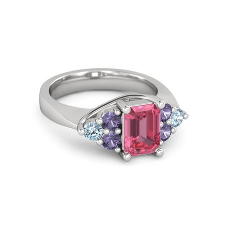 emerald cut pink tourmaline sterling silver ring with