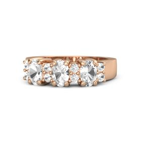 Oval Rock Crystal 14K Rose Gold Ring with Rock Crystal