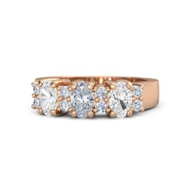 Oval Diamond 14K Rose Gold Ring with Diamond and White Sapphire