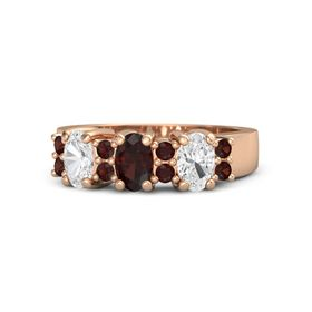 Oval Red Garnet 14K Rose Gold Ring with Red Garnet & White Sapphire