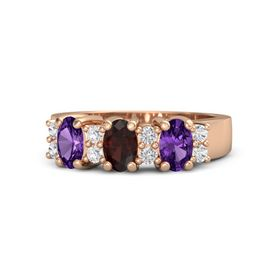 Oval Red Garnet 14K Rose Gold Ring with White Sapphire & Amethyst