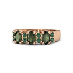 Oval Green Tourmaline 14K Rose Gold Ring with Alexandrite & Green Tourmaline