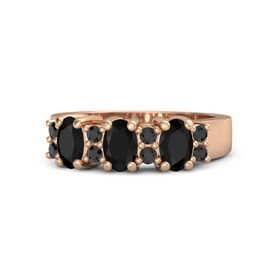 Oval Black Onyx 14K Rose Gold Ring with Black Diamond and Black Onyx