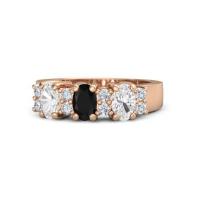 Oval Black Onyx 14K Rose Gold Ring with Diamond & White Sapphire