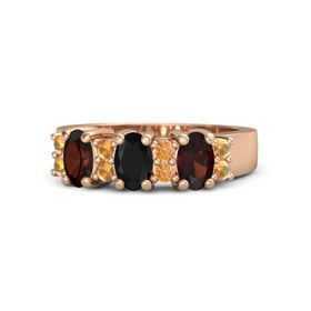 Oval Black Onyx 14K Rose Gold Ring with Citrine and Red Garnet