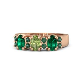 Oval Peridot 14K Rose Gold Ring with Alexandrite and Emerald