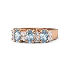 Oval Aquamarine 14K Rose Gold Ring with White Sapphire and Aquamarine