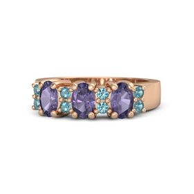 Oval Iolite 14K Rose Gold Ring with London Blue Topaz and Iolite