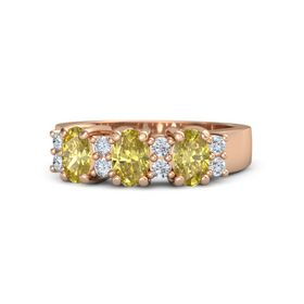 Oval Yellow Sapphire 14K Rose Gold Ring with Diamond & Yellow Sapphire