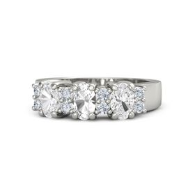 Oval Rock Crystal 14K White Gold Ring with Diamond and White Sapphire