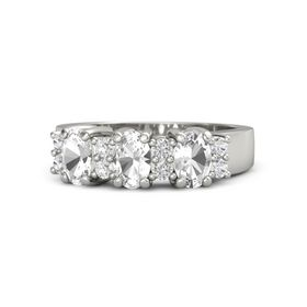 Oval Rock Crystal 14K White Gold Ring with White Sapphire and Rock Crystal