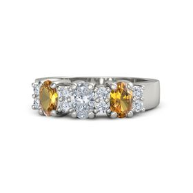 Oval Diamond 14K White Gold Ring with Diamond and Citrine