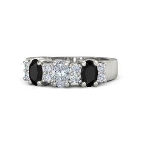 Oval Diamond 14K White Gold Ring with Diamond and Black Onyx