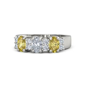 Oval Diamond 14K White Gold Ring with Diamond and Yellow Sapphire