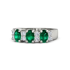 Oval Emerald 14K White Gold Ring with Diamond & Emerald
