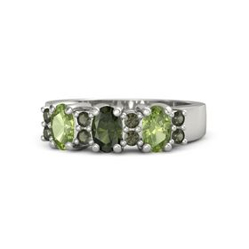 Oval Green Tourmaline 14K White Gold Ring with Green Tourmaline and Peridot