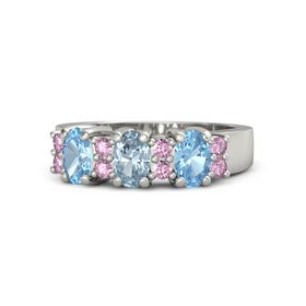 Oval Aquamarine 14K White Gold Ring with Pink Sapphire and Blue Topaz