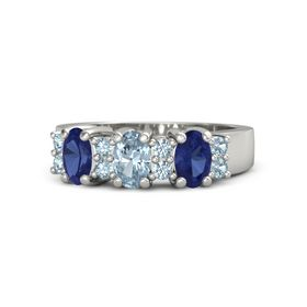 Oval Aquamarine 14K White Gold Ring with Aquamarine and Blue Sapphire