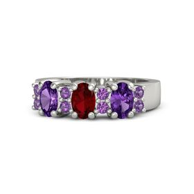 Oval Ruby 14K White Gold Ring with Amethyst