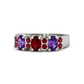 Oval Ruby 14K White Gold Ring with Ruby & Amethyst