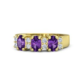 Oval Amethyst 14K Yellow Gold Ring with Diamond and Amethyst