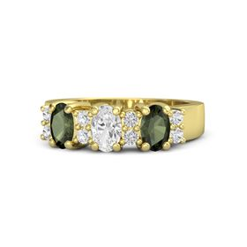 Oval White Sapphire 14K Yellow Gold Ring with White Sapphire & Green Tourmaline
