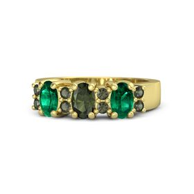 Oval Green Tourmaline 14K Yellow Gold Ring with Green Tourmaline and Emerald