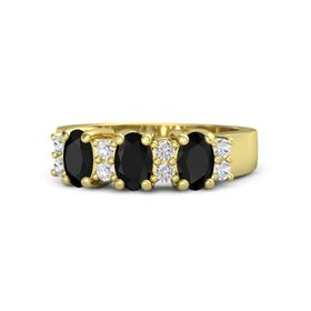 Oval Black Onyx 14K Yellow Gold Ring with White Sapphire and Black Onyx