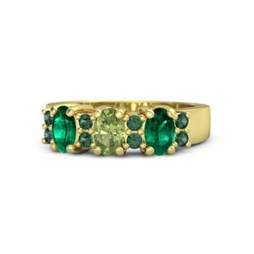 Oval Peridot 14K Yellow Gold Ring with Alexandrite & Emerald