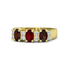 Oval Ruby 14K Yellow Gold Ring with Diamond & Red Garnet