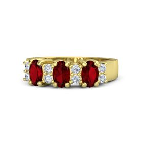Oval Ruby 14K Yellow Gold Ring with Diamond & Ruby