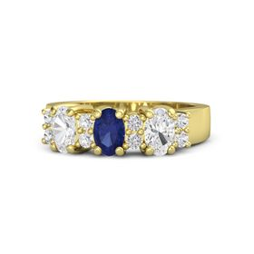 Oval Blue Sapphire 14K Yellow Gold Ring with White Sapphire